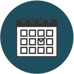 dark blue icon of calendar
