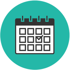 light blue icon of calendar