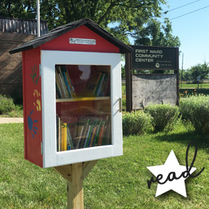 red Little Free library